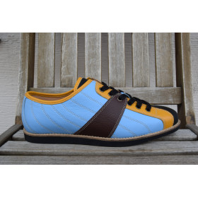 new Bowler - lightblue/yellow/black/brown